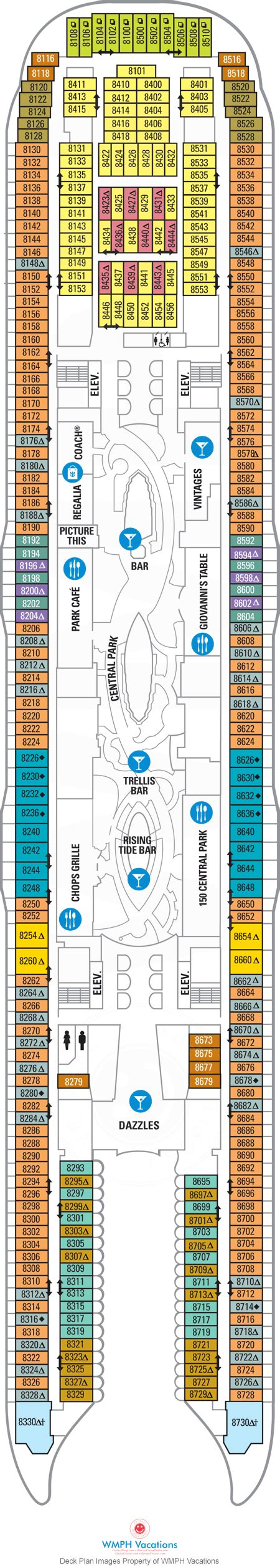 allure of the seas floor plan allure of the seas deck plans deck 8 what s on deck 8