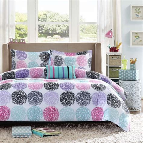 purple polka dot comforter reversible pink blue teal purple grey black stripe polka