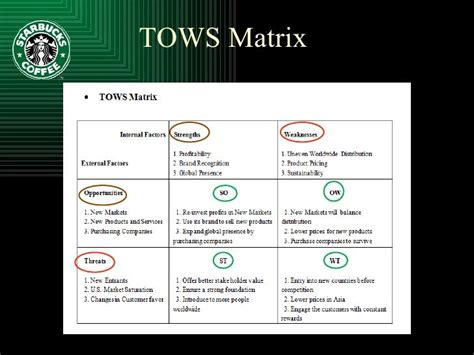 design elements matrices matrices swot and tows matrix tows matrix starbucks google search tools for business