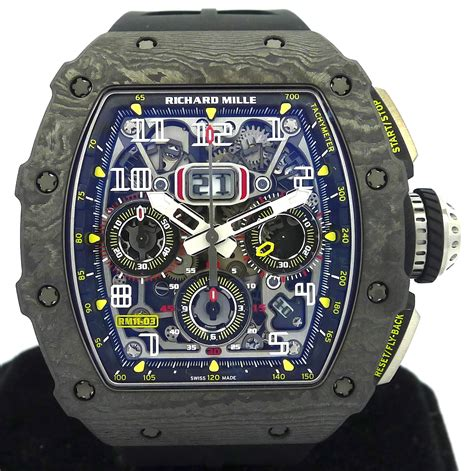 Richard Mille Rm 011 03 Rubber Steel Black Pvd Yellow Crown Ultimate richard mille annual calendar flyback chronograph ref rm011 03 black ntpt new gr luxury