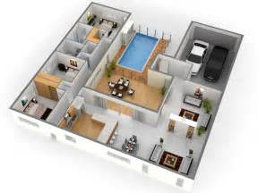 3d Home Planner by Free 3 Bedroom 3d House Plans This For All