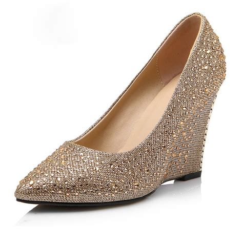 Gold Wedge Wedding Shoes by Popular Gold Wedge Wedding Shoes Buy Cheap Gold Wedge