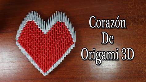 tutorial origami corazon heart coraz 243 n de origami 3d tutorial youtube