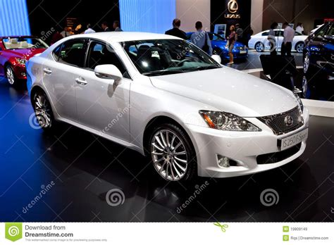 lexus sedan white white car lexus is 250 f sport editorial stock image