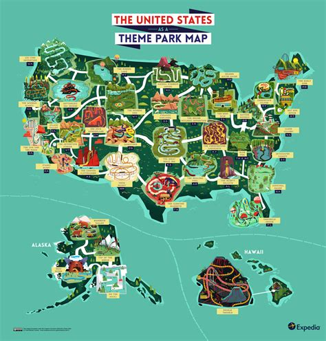 theme parks in us the united states as a quot theme park map quot 1200 x 1256