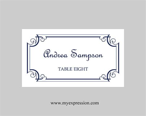 Place Card Template Word 2003 by Wedding Place Cards Template Navy Blue Ornate Frame Instant