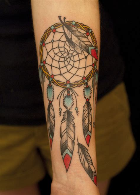 dream catcher tattoo on forearm colorful dreamcatcher on left forearm