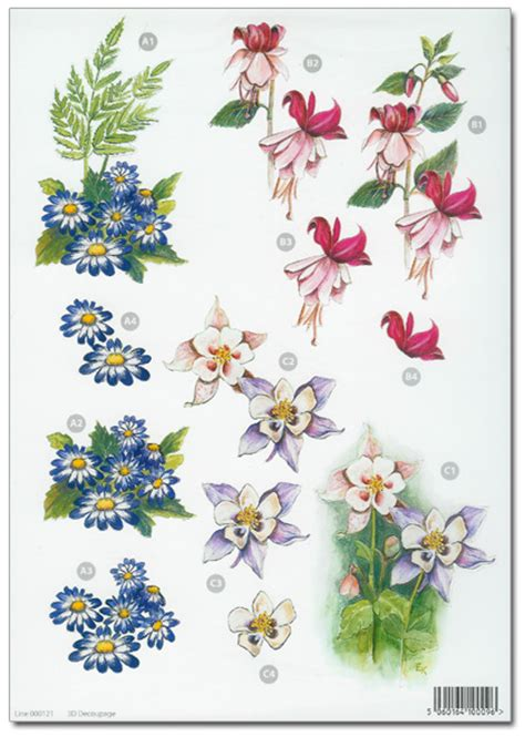 Decoupage Flowers - die cut 3d decoupage a4 sheet floral designs 114 163 1