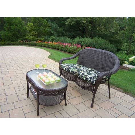 Patio Coffee Table Set Oakland Living Elite Resin Wicker 2 Patio Loveseat And Coffee Table Set With Floral