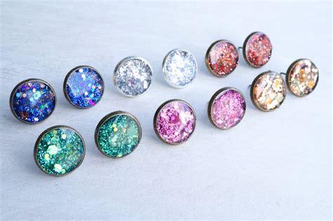 large purple glitter stud earrings 183 white