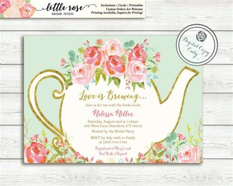 free printable invitations afternoon tea love is brewing bridal shower invitation garden tea