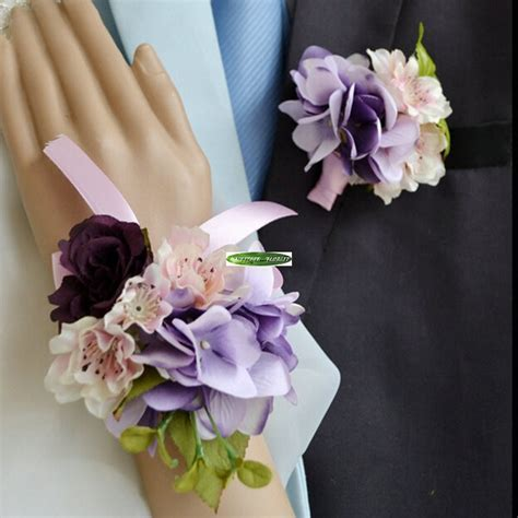 6pcs Fabric Artificial Hydrangea Bride Boutonniere Wedding