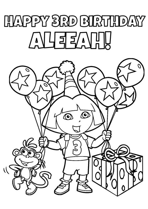 dora happy birthday coloring pages kids
