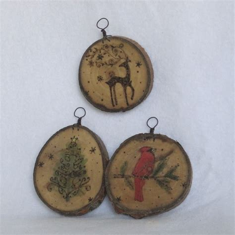 set of 3 painted wood burned cookie ornaments deer