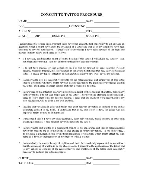 tattoo paperwork app best photos of printable parent consent forms parental