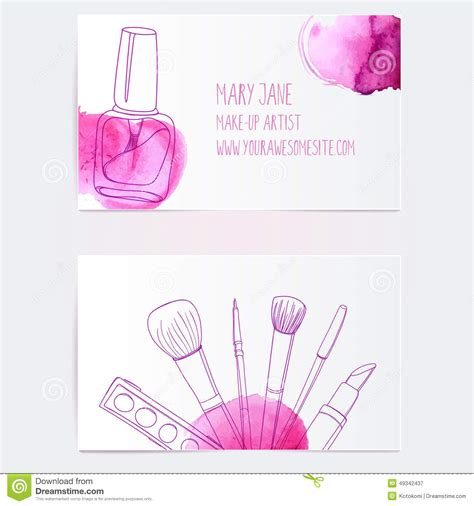 Make Card Template by Make Up Artist Business Card Template Stock Illustration