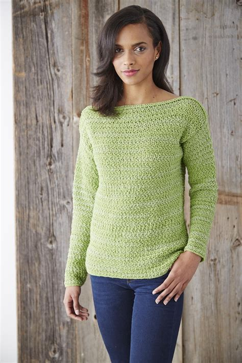 Pattern Neck Sweater boat neck pullover sweater allfreecrochet