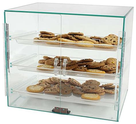 these pastry display cases are acrylic so customers can