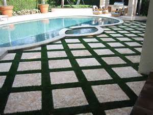 Patio Pavers Grass Between Florida Pool Deck And Patio Areas With Easyturf