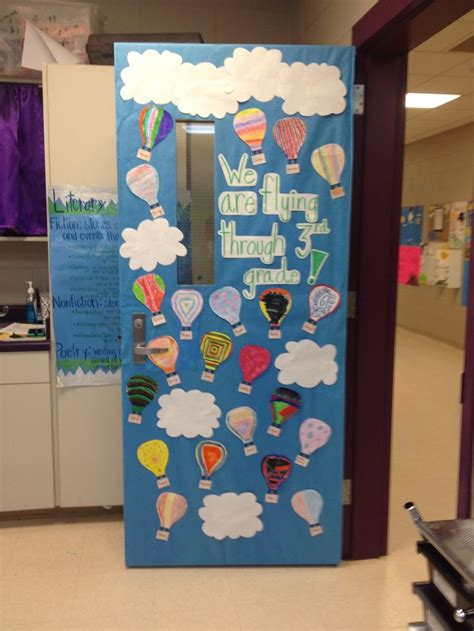 classroom themes hot air balloons hot air balloon door for spring each of my students