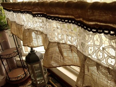 rustic burlap curtains 54 quot french vintage lace shabby rustic chic burlap ruffled