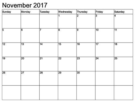 printable november 2017 calendar excel blank november 2017 calendar calendar template letter