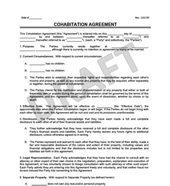 Cohabitation Agreement Legal Templates Cohabitation Contract Template