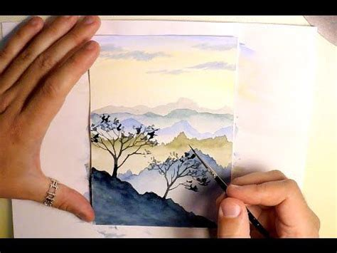 watercolor tutorial easy how to paint mountains landscape watercolor painting