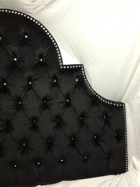 sky tufted headboard with rhinestones by