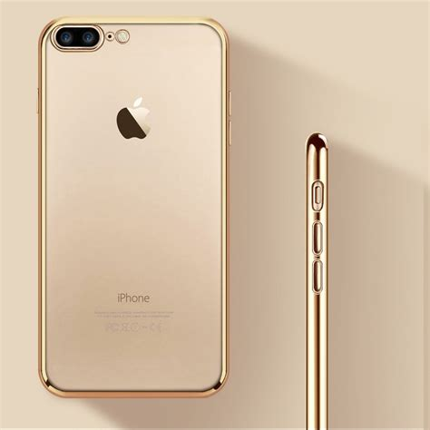 for iphone 8 plus luxury gold plating soft silicone gel for iphone 7 plus cover fundas