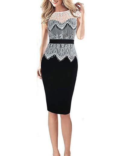 womens pencil skirt dress feminine black white open lace