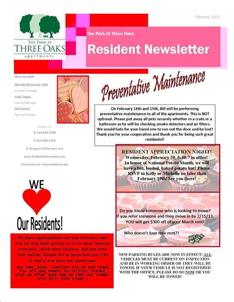 apartment community newsletter templates education world