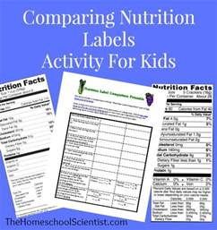 comparing nutrition labels activity for kids the
