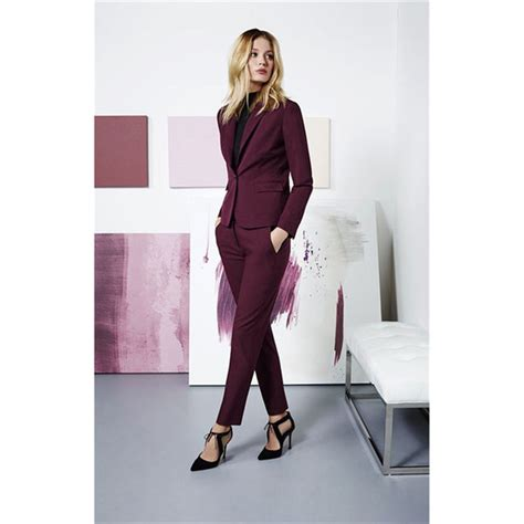 burgundy  piece set women business suits ladies