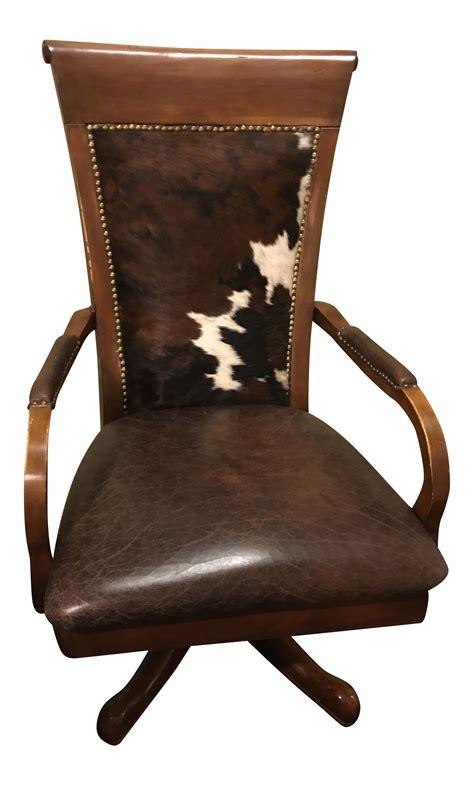 cowhide office chair chairish