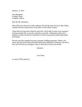 6 retirement resignation letter samples free resign letter job