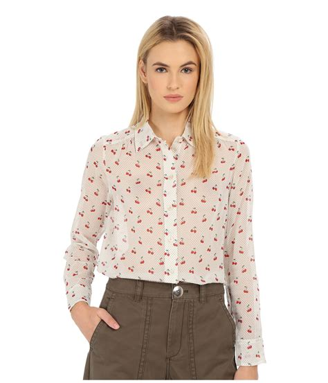 Blouse Chery White marc by marc cherry pindot voile button up shirt in