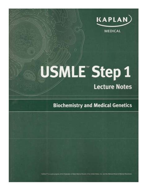 usmle step 1 lecture notes 2018 biochemistry and genetics kaplan test prep books biochem 2010 kaplan step 1