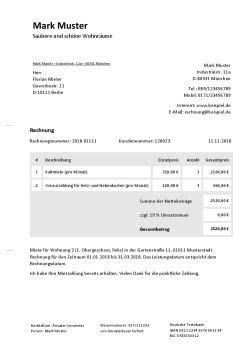 wohnung zu vermieten vorlage rechnung f 252 r vermietung schreiben kostenlose vorlage