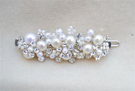 Vintage Wedding Hair Barrettes by Bridal Pearl Handmade Small Hair Clip Bridal