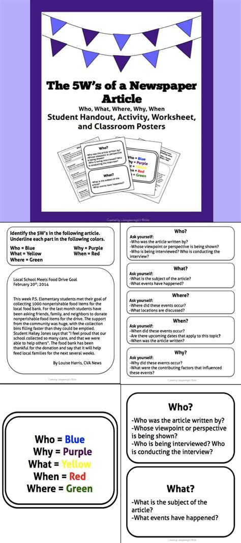 classroom layout articles the 5w s of a newspaper article student activity handout