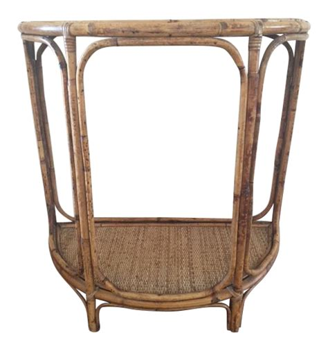 vintage small bamboo accent table chairish vintage bamboo rattan demilune accent table chairish