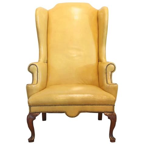 Yellow Leather Recliner Mustard Yellow Leather Wing Chair At 1stdibs