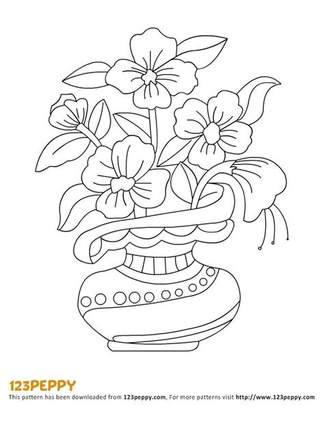 coloring page of vase with sunflowers flowers vase pattern flower and vase on pinterest