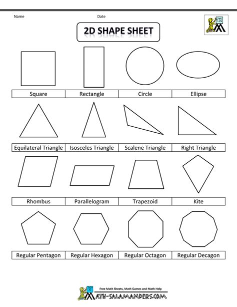 2d Shape Templates printable shapes 2d and 3d