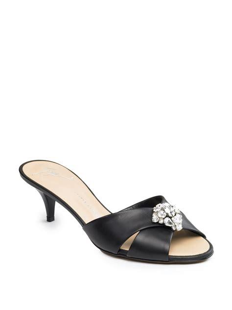 kitten heel sandals giuseppe zanotti rhinestone kitten heel sandals in black