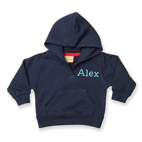 personalised embroidered baby hoodie navy