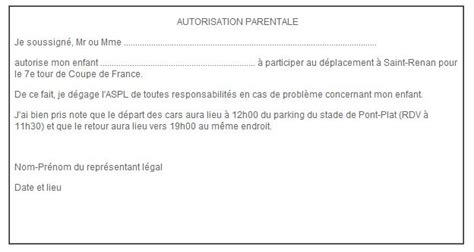 Lettre Motivation Ecole De Foot Modele Autorisation Parentale Ecole Document