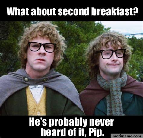 Second Breakfast Meme - hipster hobbits second breakfast meme motimeme on