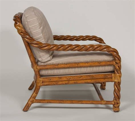 Wicker Chair And Ottoman Pair Of Rattan Club Chairs And Ottoman By Mcguire At 1stdibs